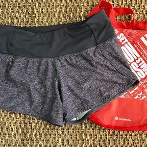 Lululemon Gray Speed Up Shorts Size 2 with bag